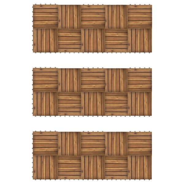Terrassenfliesen 30er Set Vertikales Muster 30 x 30 cm Akazie