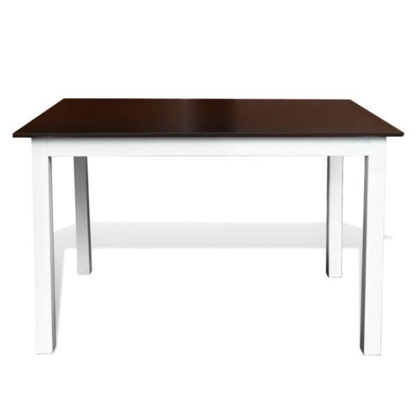 Esstisch Massivholz 110 cm Braun/Weiß