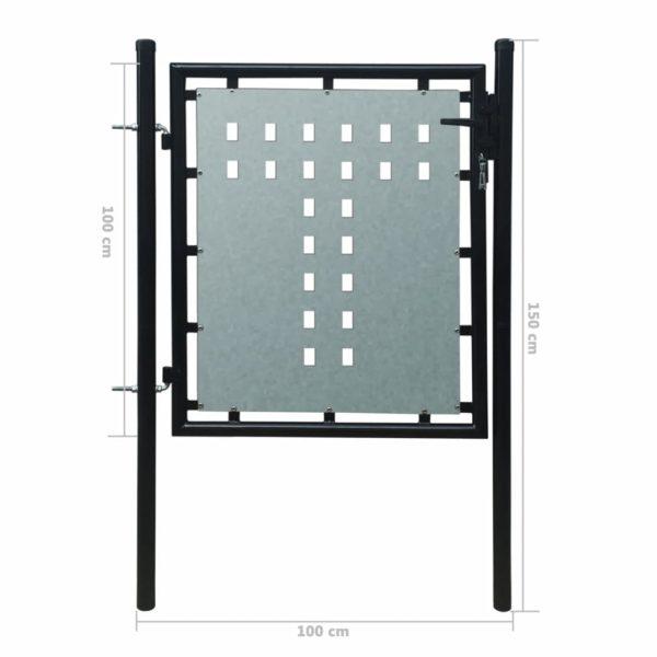 Zauntor Gartentor Einzeltor schwarz 100 x 150 cm