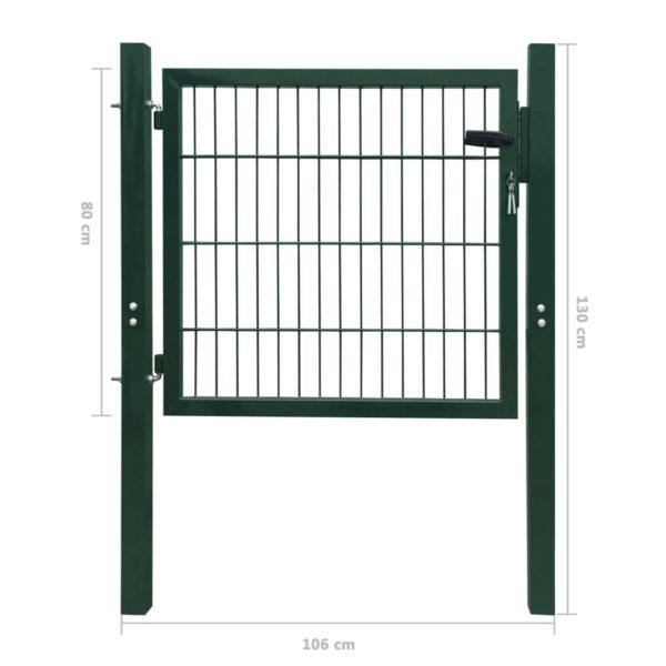 2D Zauntor (Einzeltor) grün 106 x 130 cm