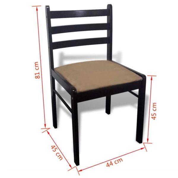 Esszimmerstühle 2 Stk. Braun Gummibaum Massivholz und Samt