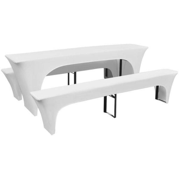 3-tlg. Hussen-Set für Biertisch und Bänke Weiß 220x70x80 cm