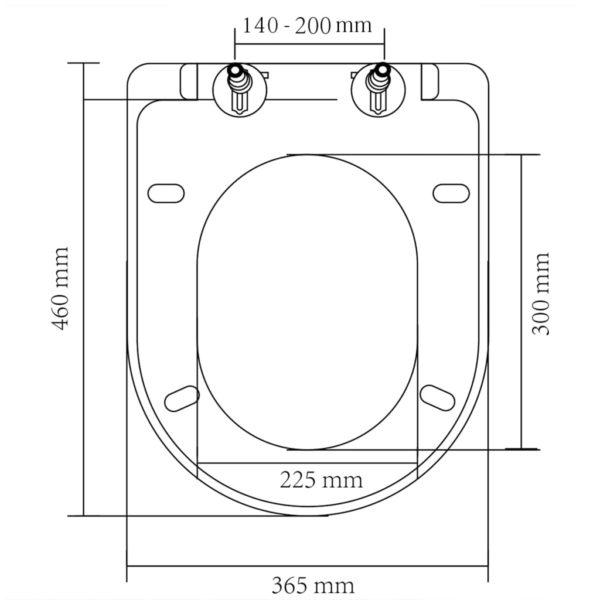 Toilettensitz mit Absenkautomatik und Quick-Release Weiß Eckig