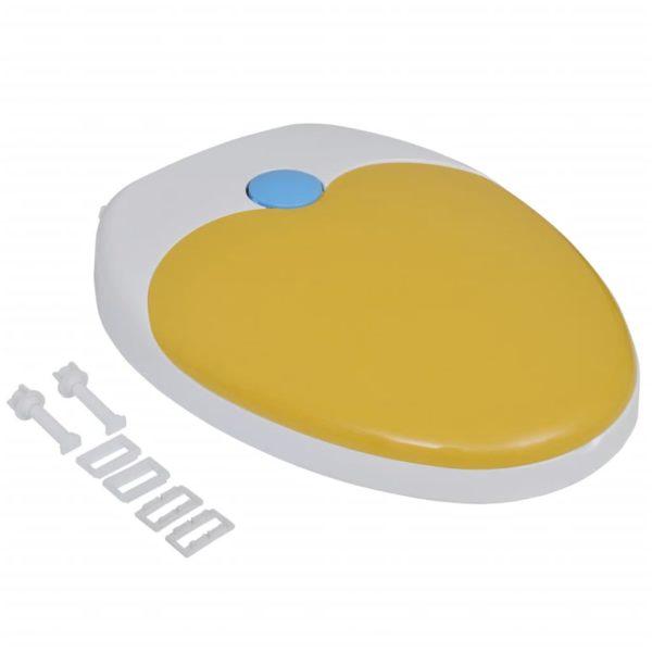 Toilettensitz mit Absenkautomatik Erwachsene/Kinder Weiß & Gelb
