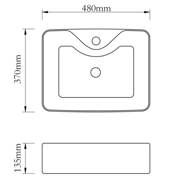 Keramik Waschbecken mit Hahnloch Schwarz Quadratisch