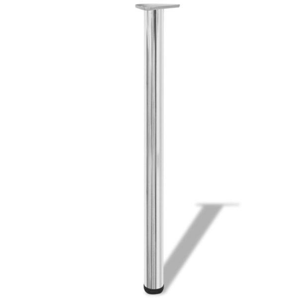 4x höhenverstellbares Tischbein Tischbeine Stützfuß Chrom 870 mm