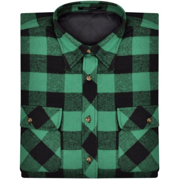 Herren Arbeitshemd Flanellhemd gepolstert grün-schwarz kariert L