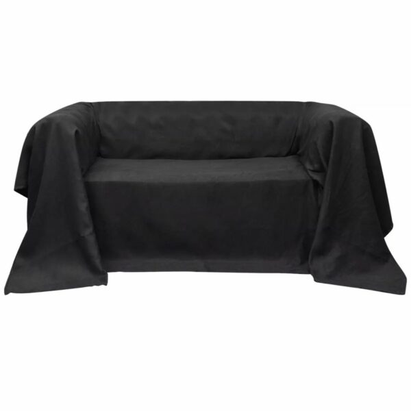 Micro-Suede Sofaüberwurf Tagesdecke Anthrazit 270 x 350 cm