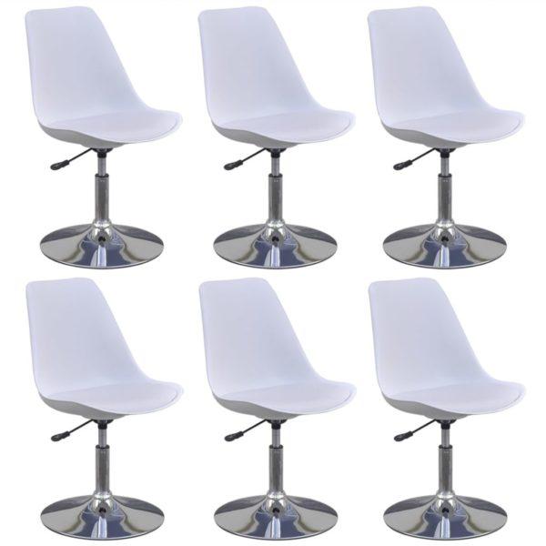 Drehbare Esszimmerstühle 6 Stk. Weiß Kunstleder