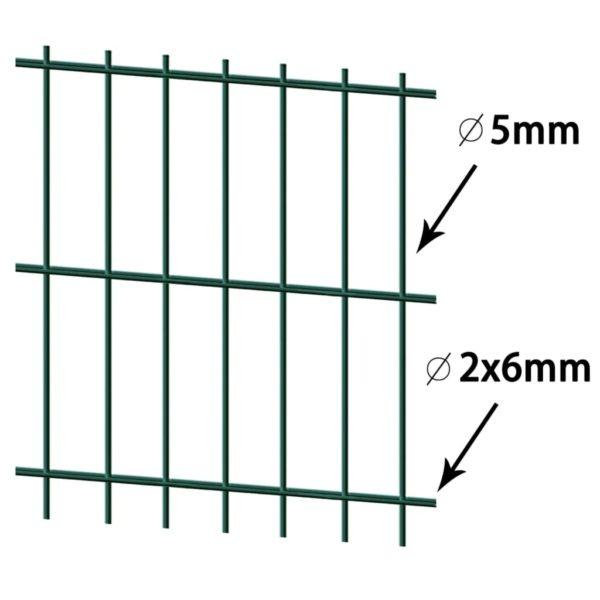 2D Gartenzaun-Element 2,008×0,83 m Grün