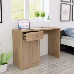 Schreibtisch mit Schublade und Schrank Eiche 100x40x73 cm