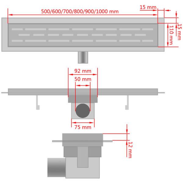 Gerade Duschrinne Blasen 530×140 mm Edelstahl