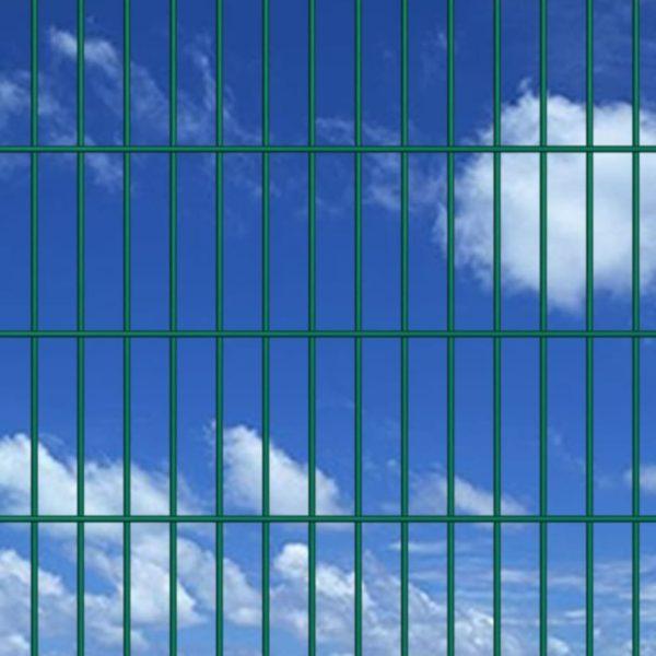 Doppelstabmattenzaun Gartenzaun & Pfosten 2008×1430 mm 28 m Grün