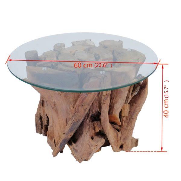 Couchtisch Massivholz Teak Treibholz 60 cm