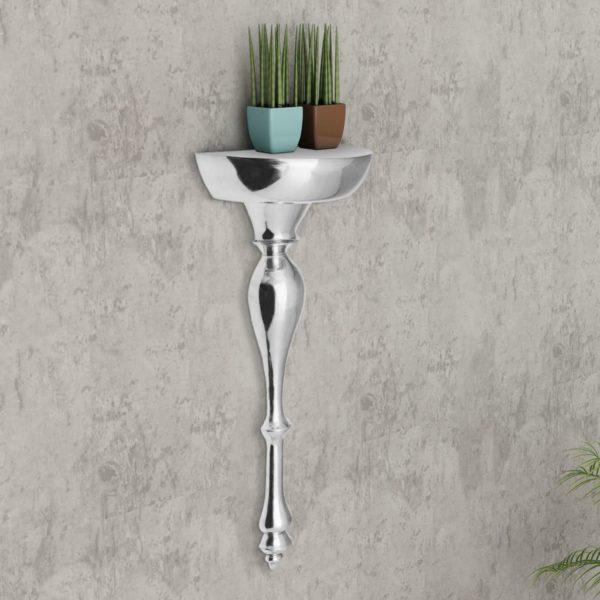 Wandkonsole Regal/Ablage Silbern 35x17x81cm Aluminium