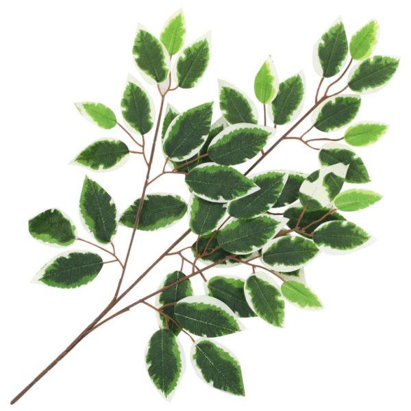 Künstliche Blätter Ficus 10 Stk. Grün und Weiß 65 cm