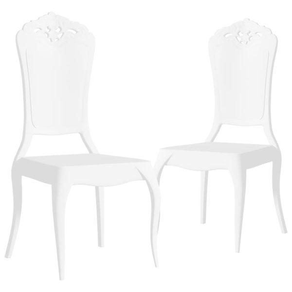 Esszimmerstühle 2 Stk. Weiß Polycarbonat
