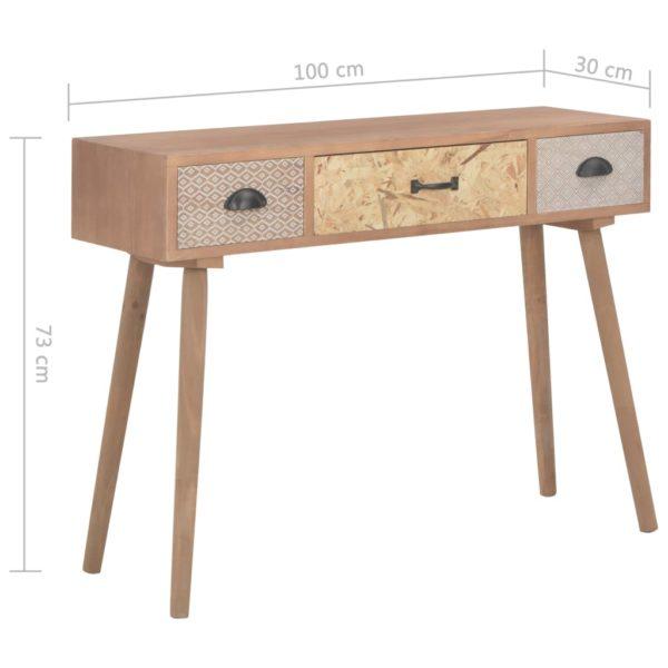 Konsolentisch mit 3 Schubladen 100x30x73 cm Massivholz Kiefer