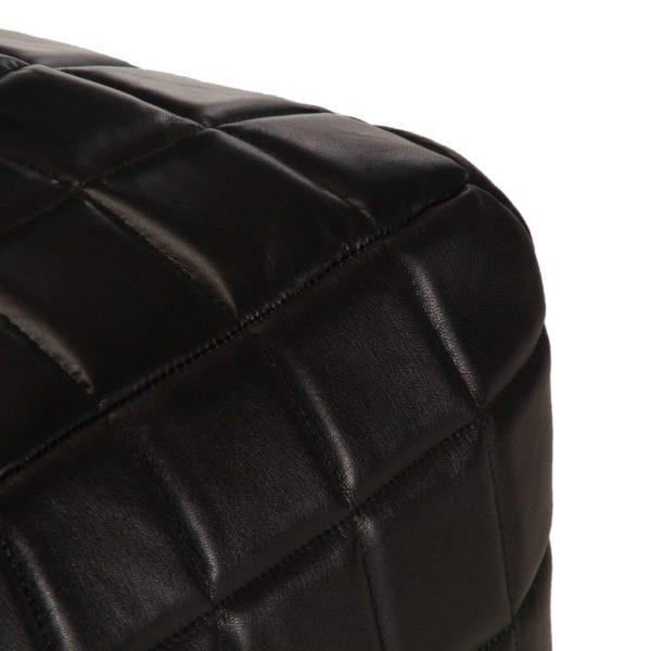 Pouf Schwarz 40 x 40 x 40 cm Echtes Ziegenleder