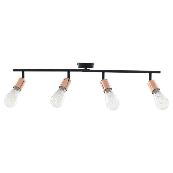4-Wege Strahler mit Glühlampen 2 W Schwarz und Kupfer 60 cm E27