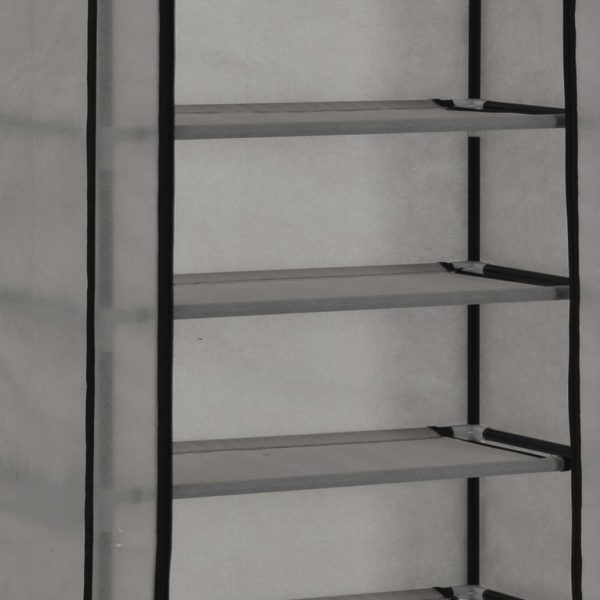 Schuhschrank mit Abdeckung Grau 57 x 29 x 162 cm Stoff