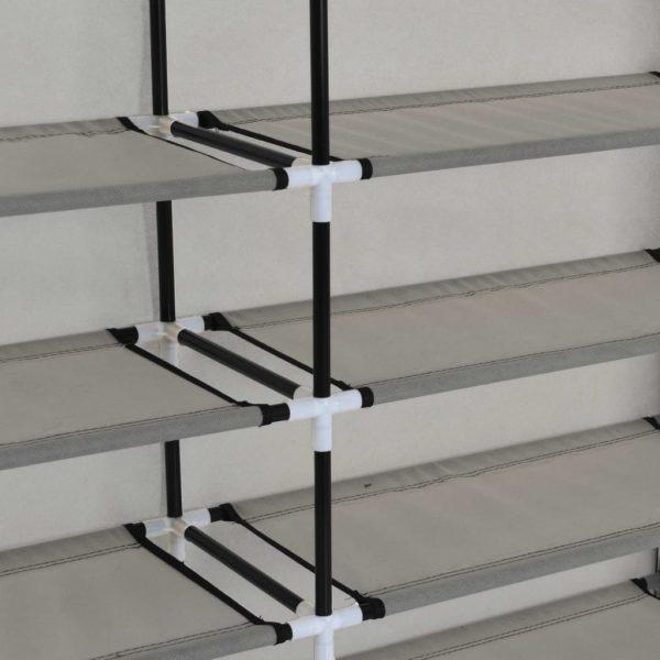Schuhschrank mit Abdeckung Grau 115 x 28 x 110 cm Stoff