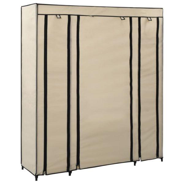 Stoffschrank mit Fächern Kleiderstangen Creme 150x45x176cm