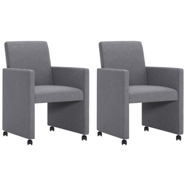 Esszimmerstühle 2 Stk. Hellgrau Stoff
