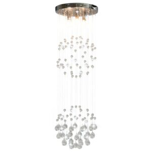 Deckenleuchte mit Kristallperlen Silbern Kugel 3x G9 Glühbirnen