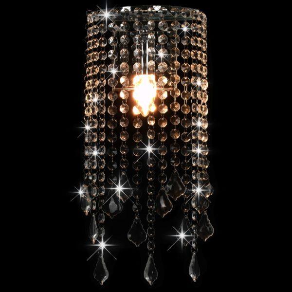 Wandleuchte mit Kristallperlen Silbern Rechteckig E14-Fassung
