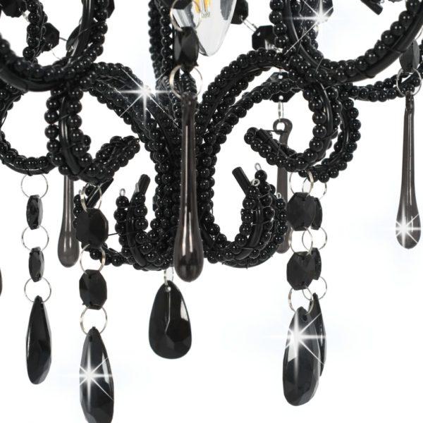 Deckenleuchte mit Perlen Schwarz Rund E14