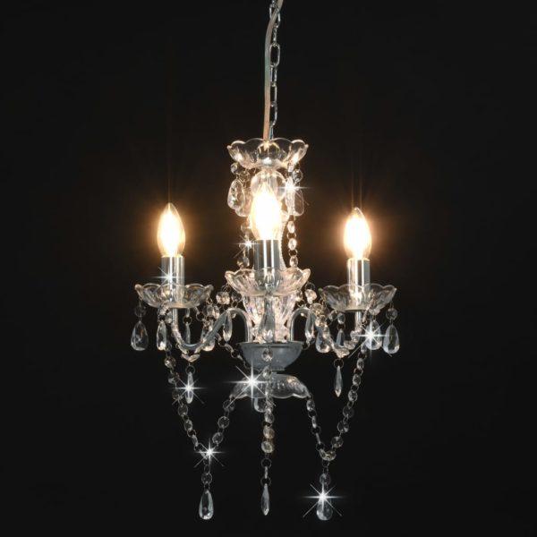 Kronleuchter mit Perlen Silbern Rund 3×E14