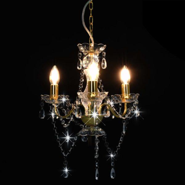 Kronleuchter mit Perlen Goldfarben Rund 3×E14