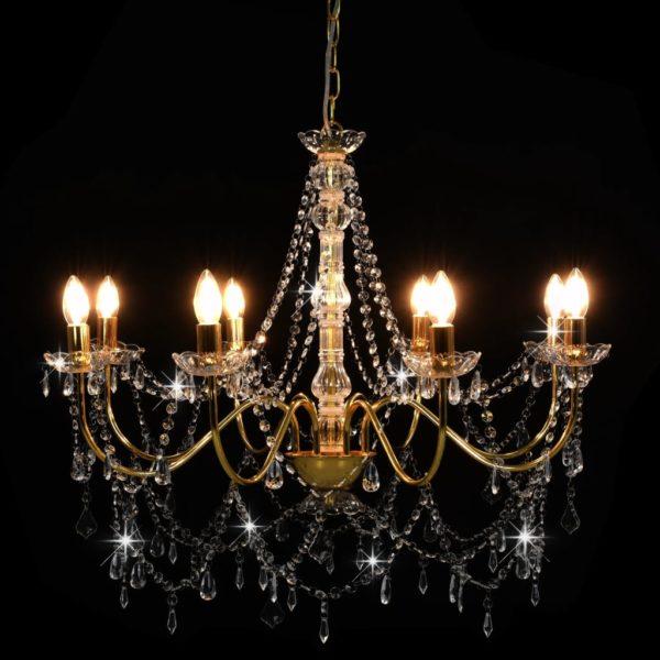 Kronleuchter mit Perlen Golden 8 x E14-Fassungen