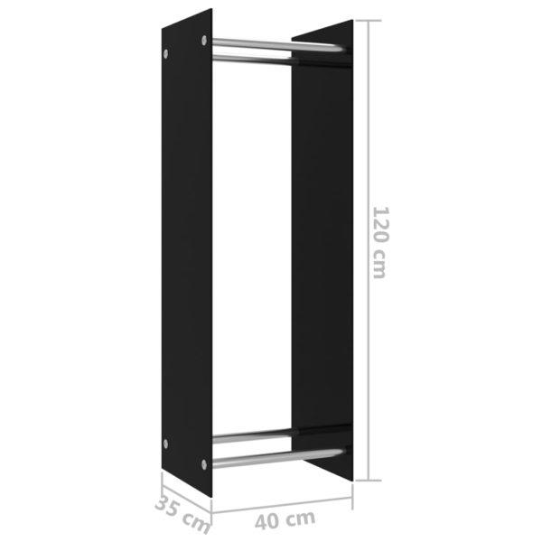 Brennholzregal Schwarz 40 x 35 x 120 cm Glas