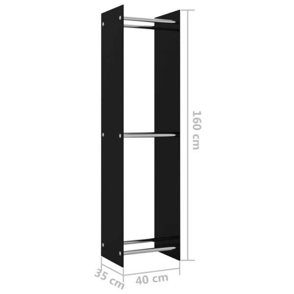 Brennholzregal Schwarz 40 x 35 x 160 cm Glas