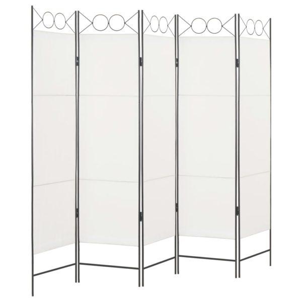 5-tlg. Raumteiler Weiß 200 x 180 cm