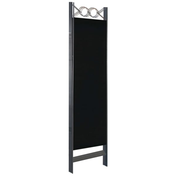 5-tlg. Raumteiler Schwarz 200 x 180 cm