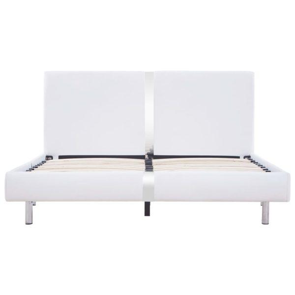 Bettgestell Weiß Kunstleder 140 x 200 cm