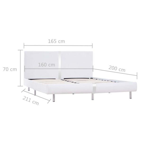 Bettgestell Weiß Kunstleder 160×200 cm
