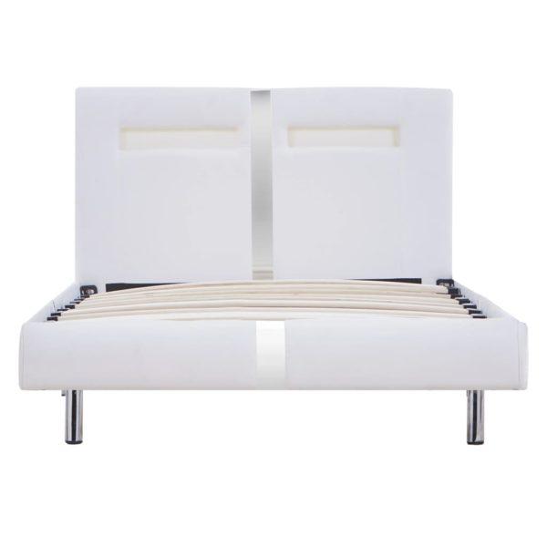 Bettgestell mit LED Weiß Kunstleder 90×200 cm