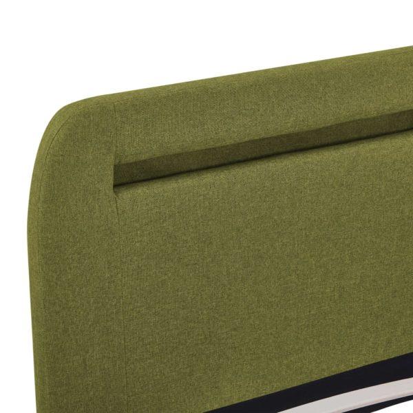 Bettgestell mit LED Grün Stoff 160×200 cm