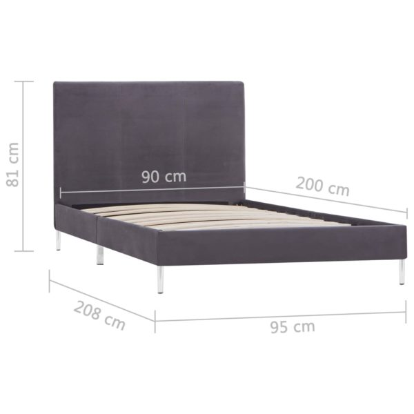 Bettgestell Grau Stoff 90×200 cm