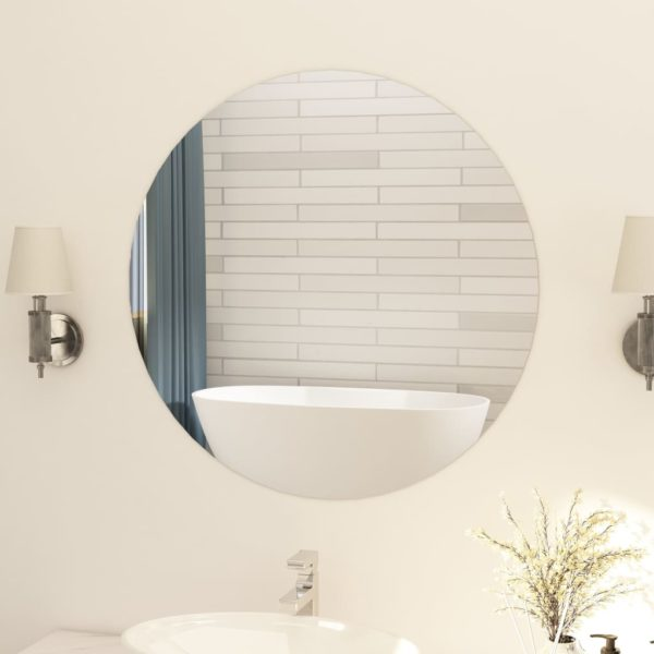 Rahmenloser Spiegel Rund 80 cm Glas