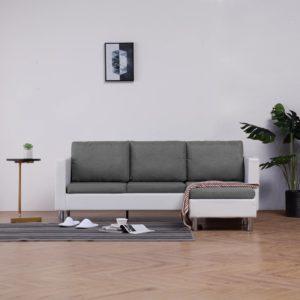 3-Sitzer-Sofa mit Kissen Weiß Kunstleder