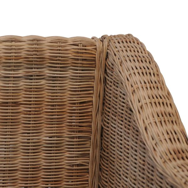 2-Sitzer-Sofa mit Auflagen Natur Rattan