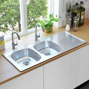Küchenspüle Doppelbecken mit Sieb & Siphon Edelstahl