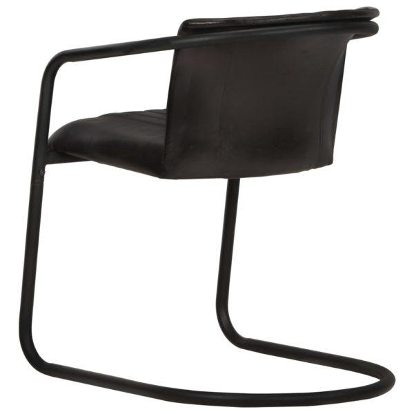 Esszimmerstühle 2 Stk. Schwarz Echtleder