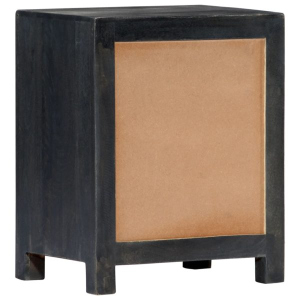 Handgeschnitzter Nachttisch Grau 40x30x50 cm Massivholz Mango