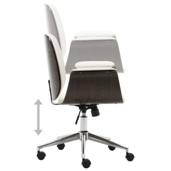 Bürostuhl Weiß Bugholz und Kunstleder